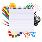Spiral notepad with school supplies. Vector. Royalty Free Stock Photography
