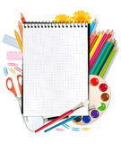 Spiral notepad with school supplies. Vector. Royalty Free Stock Image