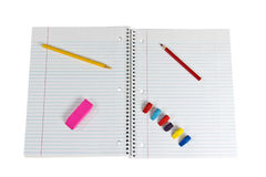 Spiral notepad with supplies Stock Photo