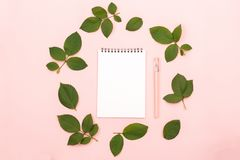 Notepad and leaves stock image