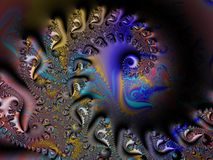 Spiral with Oriental design. A Fractal can be described as a geometric pattern that is repeated at ever smaller scales to produce irregular shapes and surfaces Royalty Free Stock Photography