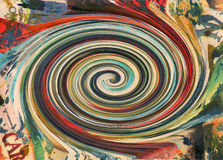Spiral painting on paper collage magazine Stock Photography