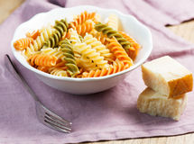 Spiral pasta with cheese Royalty Free Stock Photos