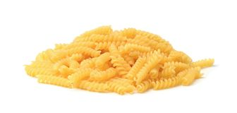Spiral pasta isolated. On white background royalty free stock image