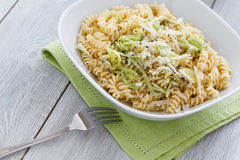 Spiral Pasta with Leek Royalty Free Stock Images