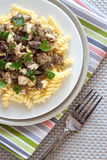 Spiral pasta with morel mushrooms Stock Images