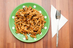 Spiral pasta plate Stock Photography