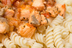 Spiral Pasta And Salmon Stock Photo