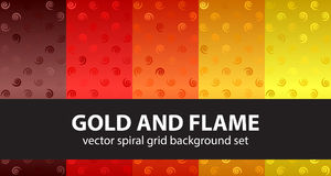 Spiral pattern set Gold and Flame. Vector seamless backgrounds Royalty Free Stock Photo