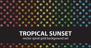 Spiral pattern set Tropical Sunset. Vector seamless backgrounds. Red, orange, yellow, green, blue spirals on black backdrops Stock Image