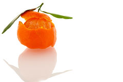 Spiral peel of orange mandarin with green leafs and a slice  Royalty Free Stock Image