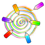 Spiral and pencils. Vector illustration that depicts a spiral colored pencils and that the trace on a sheet of paper Royalty Free Stock Photos