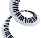 Spiral piano keys. 3d rendering of piano keys in a spiral Stock Photos