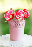 Spiral pink sugar lollipops Royalty Free Stock Photography