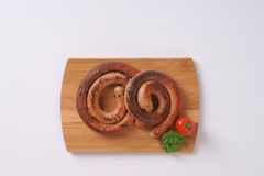 Spiral pork sausages Royalty Free Stock Photography
