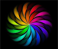 Spiral rainbow swirl. With black background Royalty Free Stock Images