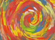 Spiral röd dragen målarfärg för bakgrund hand Arkivfoto