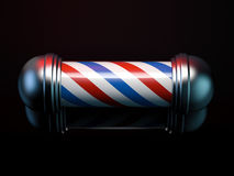 Spiral red and blue barber pole. 3d rendering. Spiral red and blue barber pole in black studio. 3d rendering Royalty Free Stock Photo