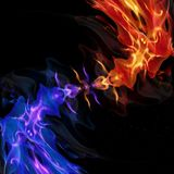 Spiral red and blue flame. Vector art illustration Royalty Free Stock Photography