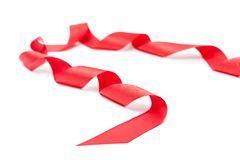 Spiral red ribbon, isolated on white Royalty Free Stock Photography