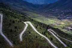 The Spiral Road. Of 317 national highway in Qamdo ,Tibet,CHINA Royalty Free Stock Photo