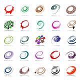 Spiral and rotation design elements. Abstract icons set. Vector art Stock Photography