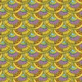 Spiral scales decorative doodles seamless pattern Stock Photos