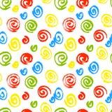 Spiral seamless pattern. Hand drawn artistic ink circles. Red, b Stock Photo