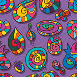Spiral shape cartoon color seamless pattern. This illustration is drawing spiral shape with color cute colors in purple color background seamless pattern Stock Images