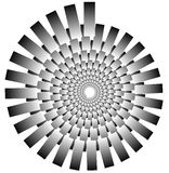 Spiral shape made of overlapping rectangles. Abstract monochrome Stock Images