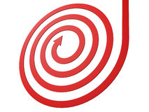 Spiral shape red arrow on white background Royalty Free Stock Image