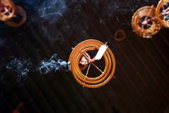Spiral shaped Chinese prayer joss stick. Smoking incense Spiral shaped Chinese prayer joss stick hanging from the ceiling Royalty Free Stock Photos