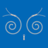 Spiral-shaped zipper. Spiral fasteners  on blue background.Increased by Adobe Illustrator EPS Vector Format Stock Image