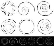 Spiral shapes. Set of volute, snail decorative elements. Stock Photos