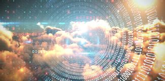 Composite image of spiral of shiny binary code. Spiral of shiny binary code against composite image of image of malware detected server and orange cloudy sky Stock Image