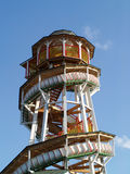 Spiral slide amusement park ride. Famous historic wood slide tobogan within vienna´s amusement park prater Stock Photo