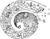 Spiral of social network doodles Royalty Free Stock Photos