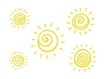 Spiral soluppsättning Stock Illustrationer
