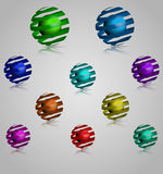 Spiral Sphere Multicolored Vector 3D Logo Set Stock Images