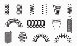 Spiral springs different shapes vector line icons. Spiral springs different shapes and types vector icons of swirl line or curved wire cords, shock absorbers or vector illustration