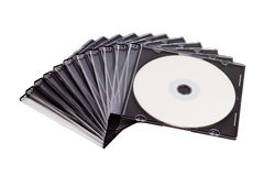 Spiral stack of compact discs. On white isolated background Royalty Free Stock Photography