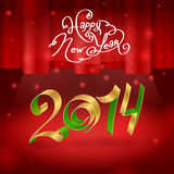 2014 spiral on stage illustration background. 2014 spiral, Happy New Year, curtain, stage royalty free illustration