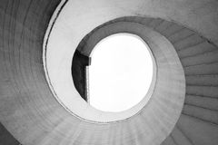 Spiral stair abstract. Black and white spiral stairs abstract. Round steps near the Gdanski bridge, Warsaw, Poland stock photography