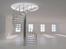 Spiral stair 3D rendering Stock Images