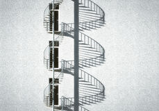 Spiral Stair. With doors and a white wall vector illustration