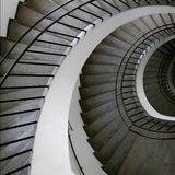 Spiral stair top. This photograph represent a winding spiral stair rail Stock Photo