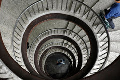 Spiral staircase. Looking down a spiral staircase stock image