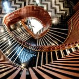 Spiral Staircase with wooden Balustrades. In Leeds, UK stock images
