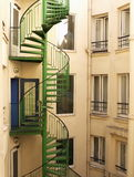 Spiral staircase. Painted in green Royalty Free Stock Photo