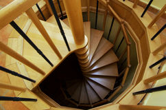 Spiral staircase. Made of wood, detail royalty free stock images